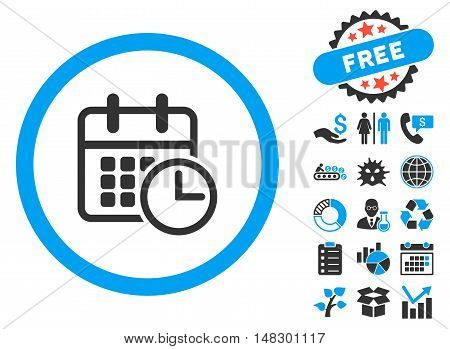 Timetable pictograph with free bonus elements. Glyph illustration style is flat iconic bicolor symbols, blue and gray colors, white background.