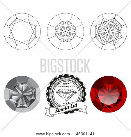 Set of zinnia cut jewel views isolated on white background - top view bottom view realistic ruby realistic diamond and badge. Can be used as part of logo icon web decor or other design.