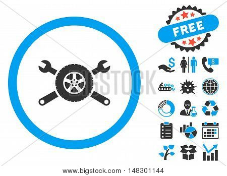 Tire Service icon with free bonus design elements. Glyph illustration style is flat iconic bicolor symbols, blue and gray colors, white background.
