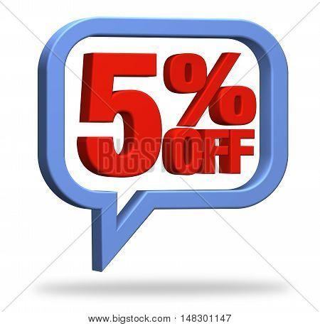 3D rendering 5% discount deduction rebate percentage