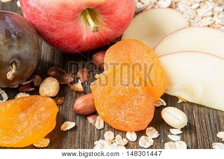A set of fresh raw products for healthy breakfast