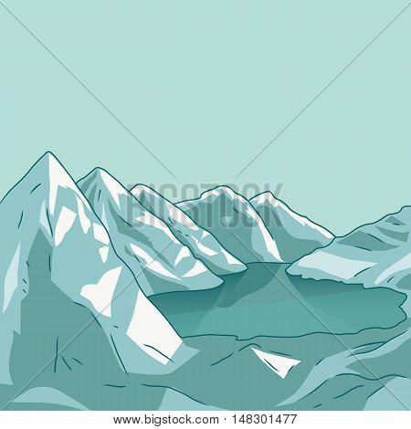 Mountain landscape. Glacial lake. North landscape. Vector modern illustration