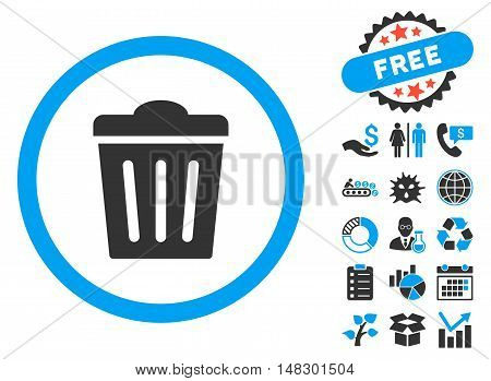 Trash Can pictograph with free bonus pictures. Glyph illustration style is flat iconic bicolor symbols, blue and gray colors, white background.