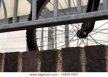 Bicycle Wheel And Tire And Fence