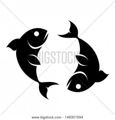 Black pisces isolated on white