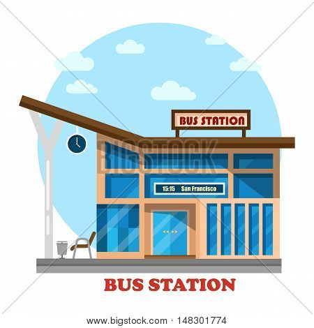 Bus station or depot structure exterior view.
