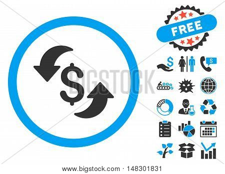 Update Cost pictograph with free bonus pictograph collection. Glyph illustration style is flat iconic bicolor symbols, blue and gray colors, white background.