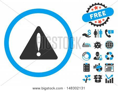 Warning Error pictograph with free bonus pictograph collection. Glyph illustration style is flat iconic bicolor symbols, blue and gray colors, white background.