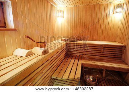 Interior of a steam room in Russian bath
