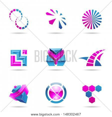 Abstract blue and purple Icon Set isolated on a white background