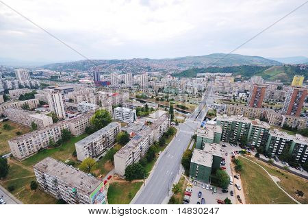 arial architecture sarajevo cityscape from bosmal bigest building on balcan