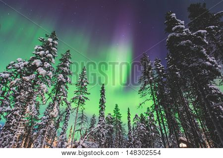 Beautiful Picture Of Massive Multicoloured Green Vibrant Aurora Borealis, Aurora Polaris, Also Know