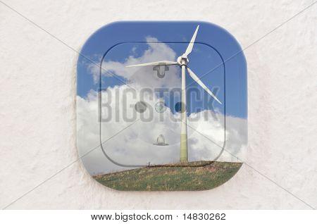 Conceitual: Turbina de vento sobre tomada com caminho