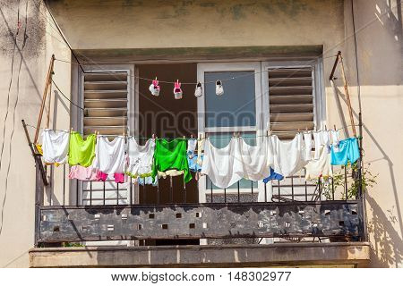 Fresh Laundry On The Balcony Of Old Home, Havana
