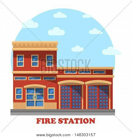 Fire station or department structure for firefighters panorama. Building with firemen for rescue and protect service. Outdoor exterior view on municipal construction on street