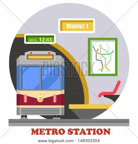 Metro or subway, rapid transit or heavy rail, tube or underground. Train in tunnel at district station with map and time. Public transport in urban area and downtown for passengers.