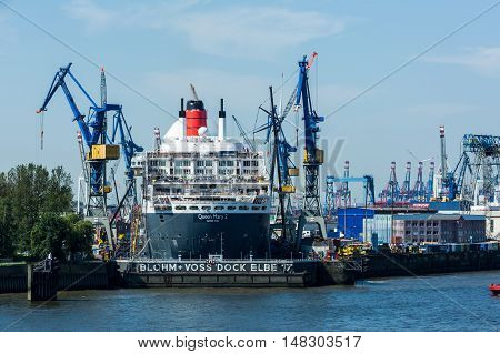 View Of The Queen Mary 2 Cruise Ship In The Port Of Hamburg