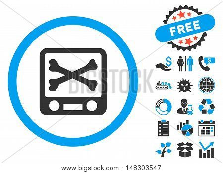 Xray Screening icon with free bonus design elements. Glyph illustration style is flat iconic bicolor symbols, blue and gray colors, white background.
