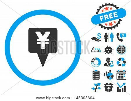 Yen Map Pointer pictograph with free bonus pictograph collection. Glyph illustration style is flat iconic bicolor symbols, blue and gray colors, white background.