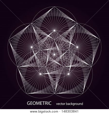 Vector geometric background. Sacred Geometry Symbol. White pattern on dark background.