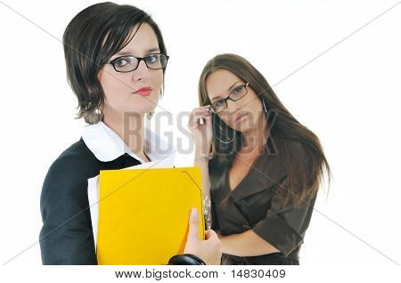 two young business woman group looking documents and giving advice and consultation