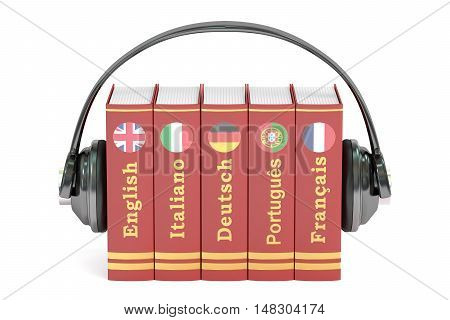 Headphones and books languages learning and translate concept. 3D rendering