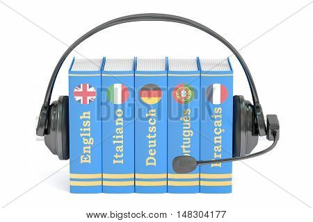 Headset and books languages learning and translate concept. 3D rendering