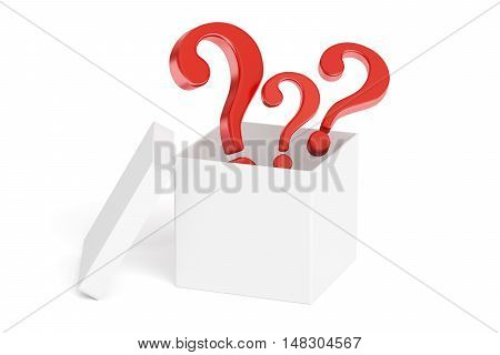 Open box with questions 3D rendering isolated on white background