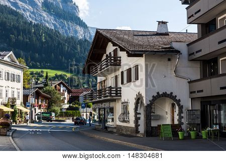 Exterior View Of The Old The Old Town Part Of Flims In Switzerland