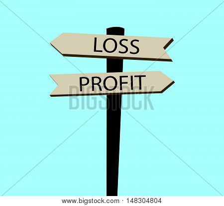 Signpost With Profit And Loss Text