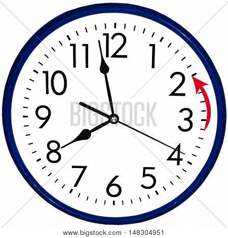 Round wall clock going to winter time