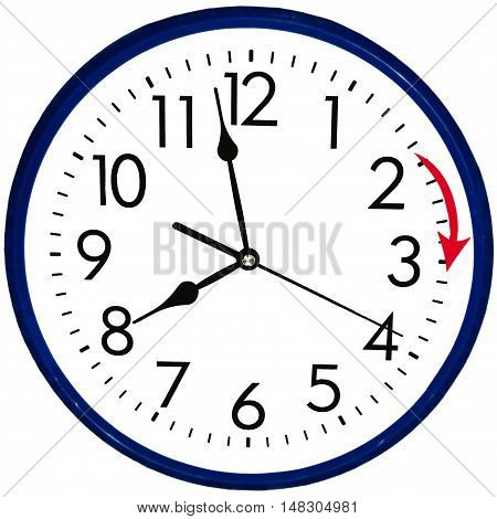 Round wall clock going to summer time