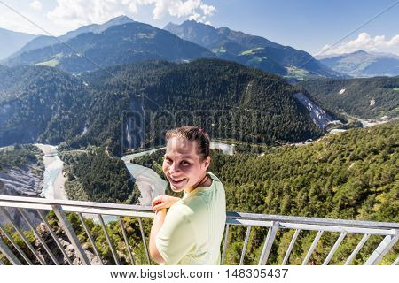Girl On The Viewpoint At The Rhine Valley, Flims, Switzerland