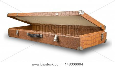 open old suitcase bag from crocodile skin isolated on white background