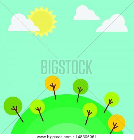 Hill Landscape Background With Cloud And Sun