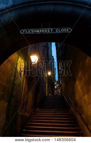 Fleshmarket Close In Edinburgh, Scotland