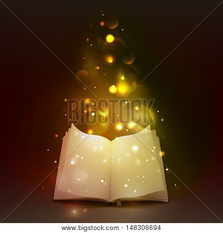 3d empty open book with bookmark and  magic lights on dark background vector illustration