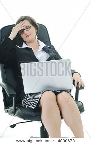 young business woman isolated on white with head pain and problems