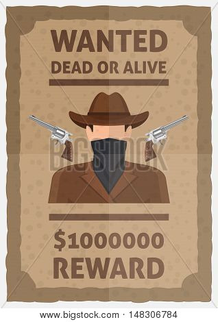 Wanted dead or alive poster with weapon man in scarf and hat reward in dollars vector illustration