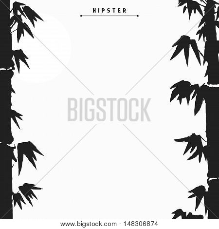 Bamboo tree silhouette card design, vector illustration.