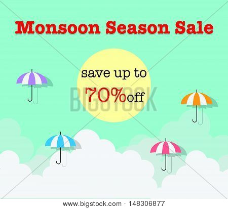 Monsoon Season Sale Background With Cloud And Umbrella
