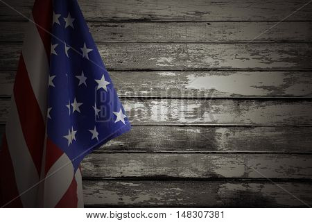 American flag and wooden wall