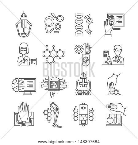 Nanotechnology linear icons set with robots and microchips scientists in laboratories dna and particles isolated vector illustration