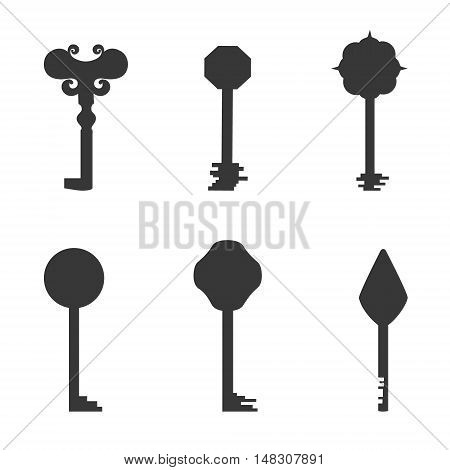 Set with Keys Silhouettes Made in Grey Color. Simplistic Flat Style