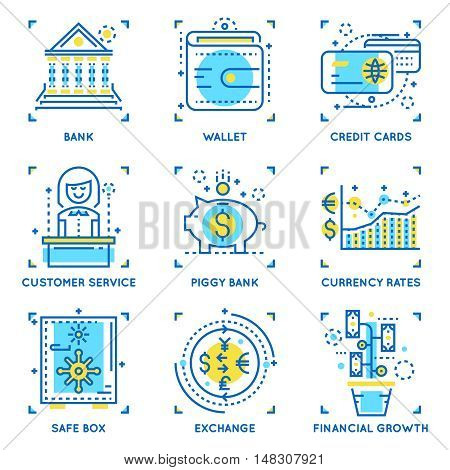 Banking linear concept including currency rates and financial growth savings account and safe box isolated vector illustration