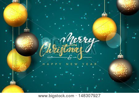 Merry Christmas and Happy New Year card design. Text handmade calligraphy Merry Christmas. Blue turquoise hue background with snowflakes and bright highlights, Christmas balls, greeting card