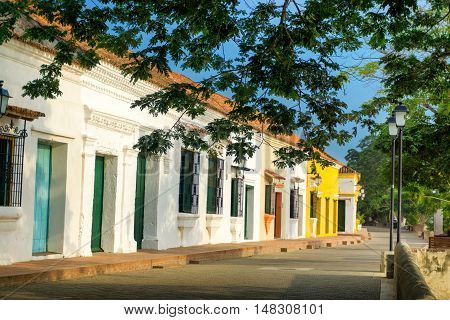 View of stunning colonial architecture in Mompox Colombia