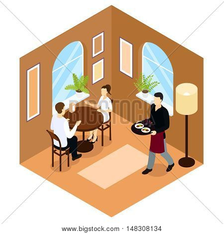 Waiter service isometric composition in tan color with people at table in cafe or restaurant vector illustration