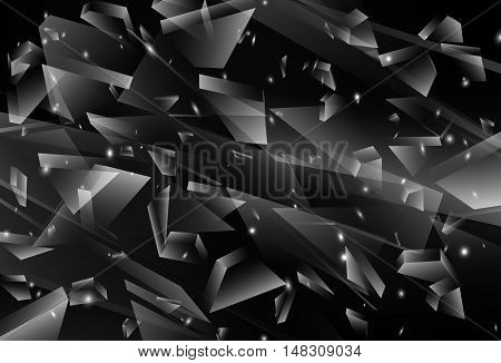 Abstract black 3d explosion, Broken Glass, Vector illustration