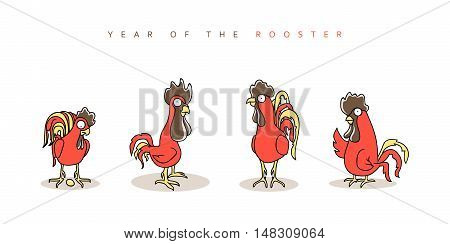 Rooster red. Chinese New Year Symbol 2017. Funny rooster and hen in doodle style for calendars and greeting cards. Character cock set. Outline drawing. Vector illustration.